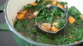Kale and Roasted Sweet Potato Soup with Chicken Sausage