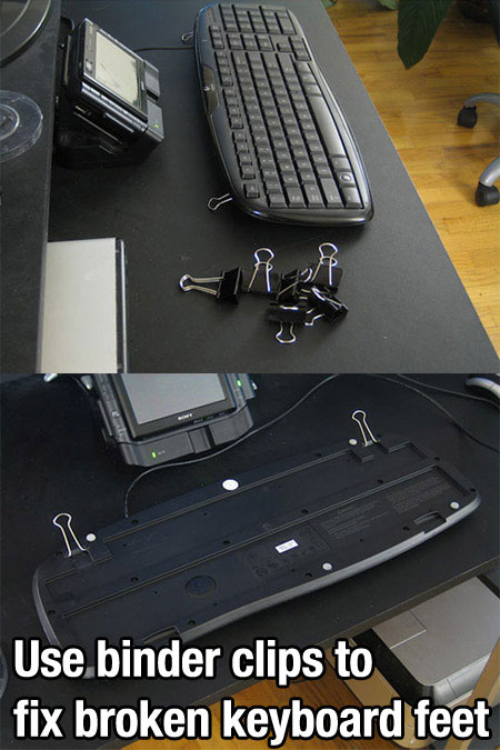 Life Hack - Binder Clips Keyboard