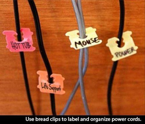 Life Hack - Bread Clips Organize Cords