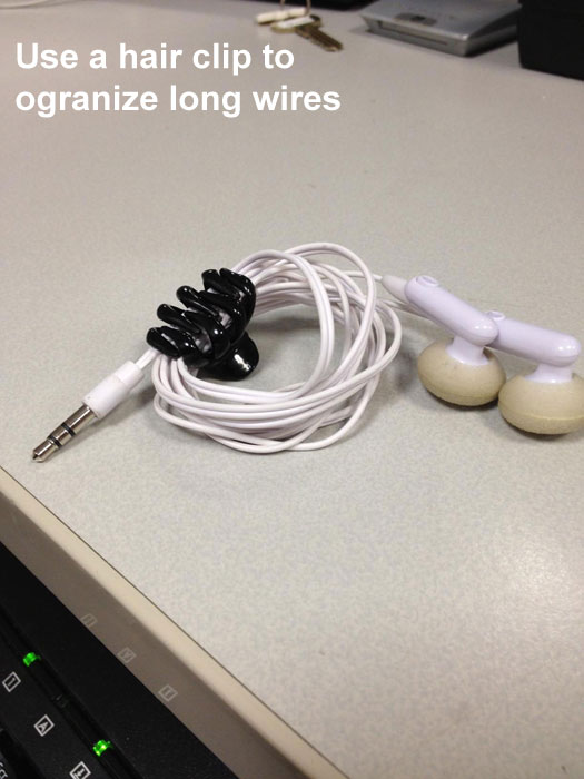Life Hack - Hair Clips for Wires